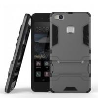 Ударопрочный чехол-подставка Transformer для Huawei P9 Lite с мощной защитой корпусаМеталл / Gun Metal