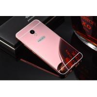Металлический бампер с акриловой вставкой с зеркальным покрытием для Meizu M5sРозовый