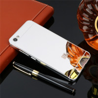 Металлический бампер с акриловой вставкой с зеркальным покрытием для Xiaomi Redmi Note 5A / Y1 LiteСеребряный