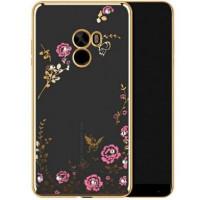 Прозрачный чехол с цветами и стразами для Xiaomi Mi Mix с глянцевым бамперомЗолотой/Розовые цветы