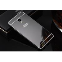 Металлический бампер с акриловой вставкой с зеркальным покрытием для Meizu M5sЧерный
