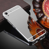 Металлический бампер с акриловой вставкой с зеркальным покрытием для Huawei Y6 IIСеребряный