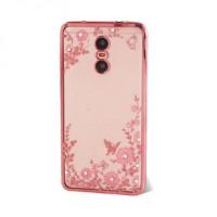 Прозрачный чехол с цветами и стразами для Xiaomi Redmi Pro с глянцевым бамперомРозовый золотой/Розовые цветы