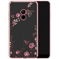 Прозрачный чехол с цветами и стразами для Xiaomi Mi Mix с глянцевым бамперомРозовый золотой/Розовые цветы