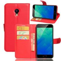 Кожаный чехол (книжка) Wallet с визитницей для Meizu M5Красный