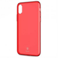 "TPU чехол Baseus Simple Ultrathin для Apple iPhone X (5.8"") с заглушкойКрасный / Transparent Red"