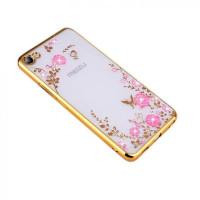 Прозрачный чехол с цветами и стразами для Meizu U10 с глянцевым бамперомЗолотой/Розовые цветы