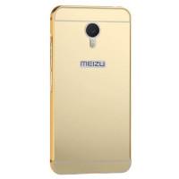 Металлический бампер с акриловой вставкой с зеркальным покрытием для Meizu M3 NoteЗолотой