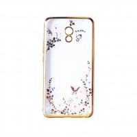 Прозрачный чехол с цветами и стразами для Meizu Pro 6 Plus с глянцевым бамперомЗолотой/Розовые цветы
