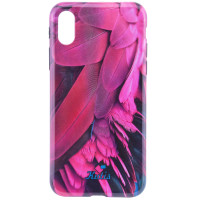 "TPU чехол Kutis Print ""I want personality"" для Apple iPhone X (5.8"")Розовый / Синий"
