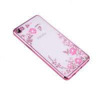Прозрачный чехол с цветами и стразами для Meizu U10 с глянцевым бамперомРозовый золотой/Розовые цветы