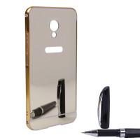 Металлический бампер с акриловой вставкой с зеркальным покрытием для Meizu MX6Золотой