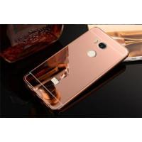 Металлический бампер с акриловой вставкой с зеркальным покрытием для Xiaomi Redmi 4 Pro / 4 PrimeРозовый