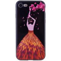 "TPU чехол Magic Girl со стразами для Apple iPhone 7 plus / 8 plus (5.5"")Черный / Лепестки"
