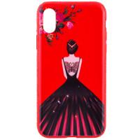"TPU чехол Magic Girl со стразами для Apple iPhone X (5.8"")Красный / Цветы"