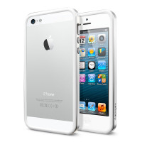 Бампер SGP Neo Hybrid EX Slim Metal Series для Apple iPhone 5/5S/SE (+ пленка)Серебряный / Satin Silver / SGP10033