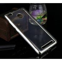 Прозрачный силиконовый чехол для Xiaomi Redmi 3 Pro / Redmi 3s с глянцевой окантовкойСеребряный