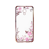 Прозрачный чехол с цветами и стразами для Meizu M3e с глянцевым бамперомРозовый золотой/Розовые цветы