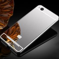 Металлический бампер с акриловой вставкой с зеркальным покрытием для Xiaomi Redmi 4aСеребряный