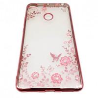 Прозрачный чехол с цветами и стразами для Xiaomi Mi Max 2 с глянцевым бамперомРозовый золотой/Розовые цветы