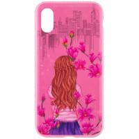 """TPU чехол Magic Girl со стразами для Apple iPhone X (5.8"""")Розовый / Сакура"""