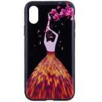 "TPU чехол Magic Girl со стразами для Apple iPhone X (5.8"")Черный / Лепестки"