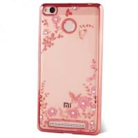 Прозрачный чехол с цветами и стразами для Xiaomi Redmi 3 Pro / Redmi 3s с глянцевым бамперомРозовый золотой/Розовые цветы