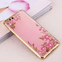 Прозрачный чехол с цветами и стразами для Xiaomi Mi 6 с глянцевым бамперомЗолотой/Розовые цветы