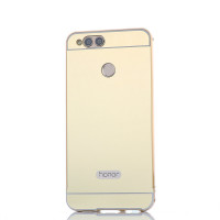 Металлический бампер с акриловой вставкой с зеркальным покрытием для Huawei Honor 7XЗолотой