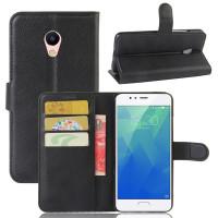 Кожаный чехол (книжка) Wallet с визитницей для Meizu M5sЧерный