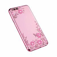 Прозрачный чехол с цветами и стразами для Xiaomi Mi 6 с глянцевым бамперомРозовый золотой/Розовые цветы