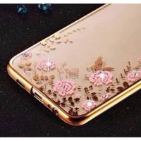 Прозрачный чехол с цветами и стразами для Huawei Mate 10 с глянцевым бамперомЗолотой/Розовые цветы