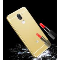 Металлический бампер с акриловой вставкой с зеркальным покрытием для Xiaomi Mi 5s PlusЗолотой