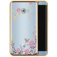 Прозрачный чехол с цветами и стразами для Xiaomi Mi Note 2 с глянцевым бамперомЗолотой/Розовые цветы