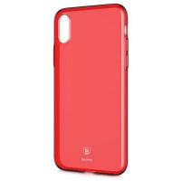 "TPU чехол Baseus Simple Ultrathin для Apple iPhone X (5.8"")Красный / Transparent Red"