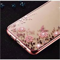 Прозрачный чехол с цветами и стразами для Huawei Mate 10 с глянцевым бамперомРозовый золотой/Розовые цветы