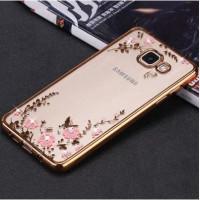 Силиконовый (TPU) Чехол-накладка для смартфона Samsung Galaxy A5 2017 SM-A520F прозрачный с окантовкой и рисунком, ЗОЛОТОЙ с цветами