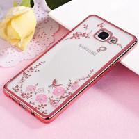 Силиконовый (TPU) Чехол-накладка для смартфона Samsung Galaxy A5 2017 SM-A520F прозрачный с окантовкой и рисунком, РОЗОВЫЙ с цветами