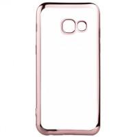 Прозрачный Силиконовый (TPU) Чехол-накладка для смартфона Samsung Galaxy A5 2017 SM-A520F с Розовой окантовкой