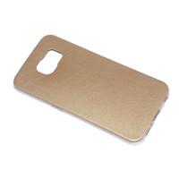 Чехол-бампер силиконовый с цветной вставкой для смартфона Samsung Galaxy S6 SM-G920F Цвет: золотой
